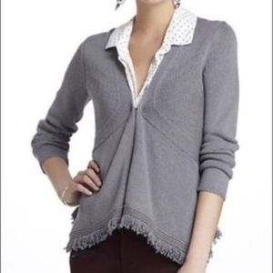 Anthropologie Sparrow Grey Fringe Cardigan